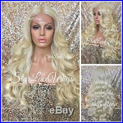 Lace Front Wig Platinum Blonde Human Hair Blend Long Body Wave Curly Heat Ok