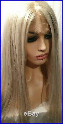 Light Blonde Human hair wig, hand knotted, Bleach Blonde, Lace Front Wig