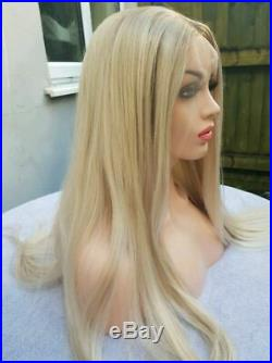 Light ombre blonde human hair wig lace front full wig transparent lace real hair