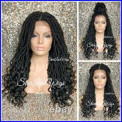 Long Lace Front Wig Faux Locs 4x4 Parting Space Off Black #1b Curly Glueless