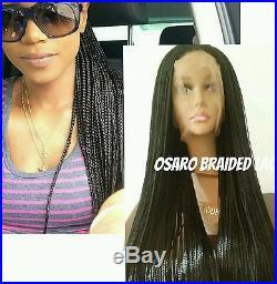 Long black, neat micro braided lace front wig. Box braids. Human hair blend