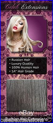 NEW 100% RUSSIAN Human Hair Extensions 100g DOUBLE DRAWN Weft Jet Black 20 #1