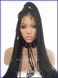 Nefertiti Long Fully Hand Micro Braided Lace Front Wig Poetic Justice Box Braids