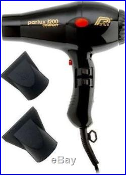 Parlux Compact 3200 Turbo Hair Dryer Black Includes 2 Nozzles