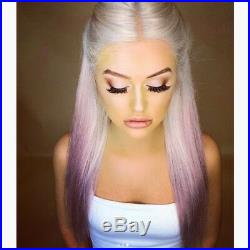 Purple Natural Wave Wig Synthetic Hair Long Natural Straight Wig for Woman Party