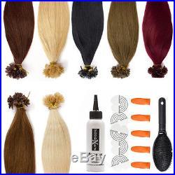 Remy Echthaar Strähnen Keratin Hair Extensions Haarverlängerung Bondings Bonding