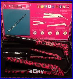 Royale Full Set-Pink Leopard 100%Ceramic Hair Straightener+Curler+Mini Flat Iron