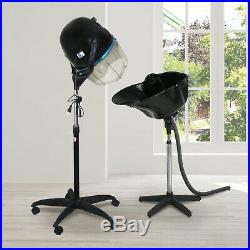 Salon Bonnet Stand-up Hair Dryer Styling + Portable Shampoo Bowl Deep Basin