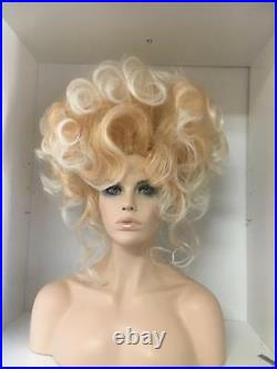 Sin City Wigs Big Teased Updo Soft Sexy Curls Golden Blonde Frosted Highlights