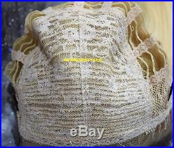 Straight Blonde Human Hair Blend Full Lace Front Wig Heat Ok Hair Piece #613