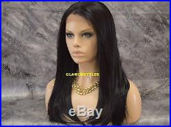 Straight Dark Brown Human Hair Blend Full Lace Front Wig Heat Ok Hair Piece NWT