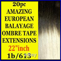 TAPE SKIN WEFT 1b/613 BALAYAGE OMBRE REMY HUMAN HAIR EXTENSIONS Brown Blonde