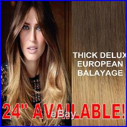 Thick Dip Dye 4/27 Long Balayage Ombre Clip In Remy Human Hair Extensions Blonde