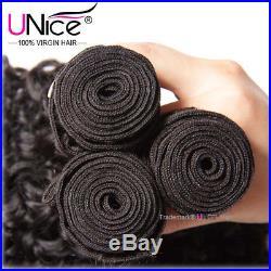UNice Hair Brazilian Curly Virgin Hair Weave 3 Bundles 8A Human Hair Extensions