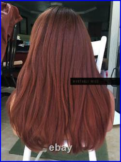 USA HUMAN HAIR BLEND Ombre Auburn Brown LACE FRONT Wig + Swiss Lace PART & Root