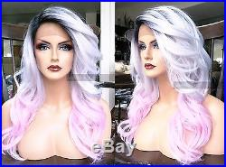 USA Human HAIR BLEND Silver Ombre Gray Pink Wavy Swiss LACE FRONT WIG Dark Root
