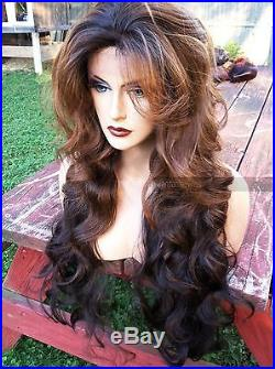 USA Human Hair BLEND Long Black Brown Ombre 4x4 LACE FRONT Dark Root Wig