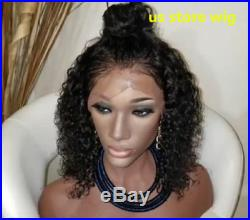 USA Pre Plucked Brazilian Human Hair Curly Full Lace Wigs Glueless Front Wig