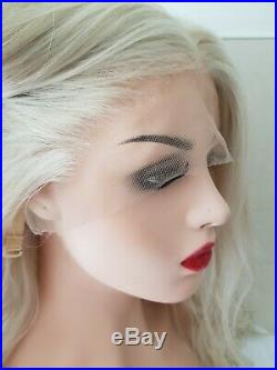 White Ice Blonde Human hair wig, hand knotted, Light Ash Blonde, Lace Front