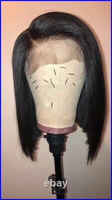 Women 12 5x5 Lace Closure Wig Straight Malaysian virgin Black Hair bob Wig