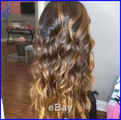 Women 136 Lace Front Wavy Human Hair Wigs Pre-Plucked Ombre Human Hair Wigs